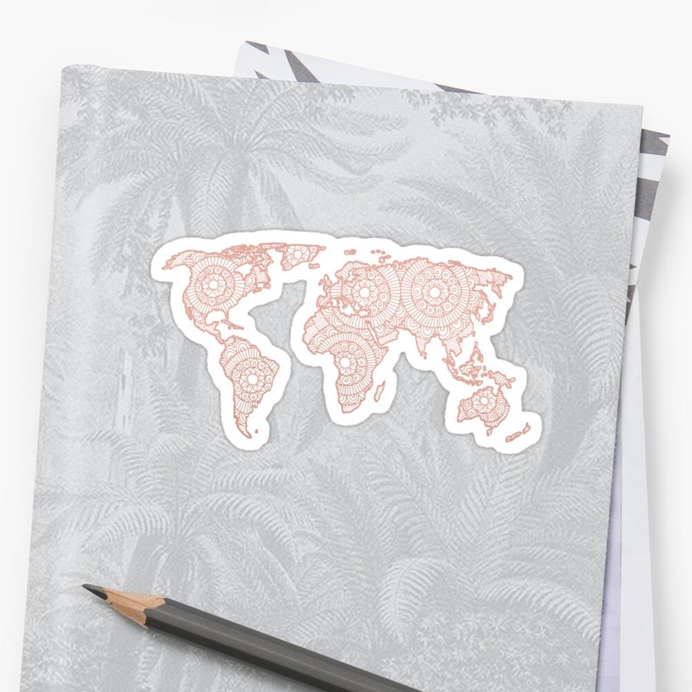 Rose Gold Mandala World Map Sticker Front