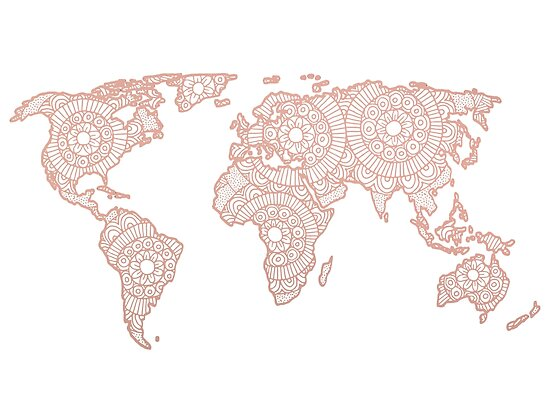 Rose Gold Mandala World Map Posters By Julieerindesign Redbubble