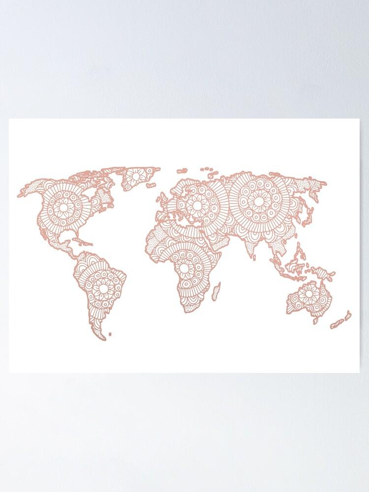 Rose Gold Mandala Weltkarte Poster Von Julieerindesign Redbubble