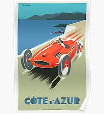 Vintage Travel Poster, French Riviera Race Car Poster