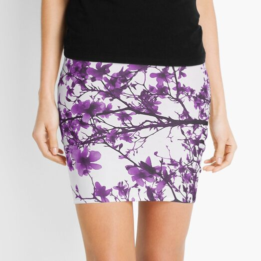 Purple Flowers in Bloom Mini Skirt