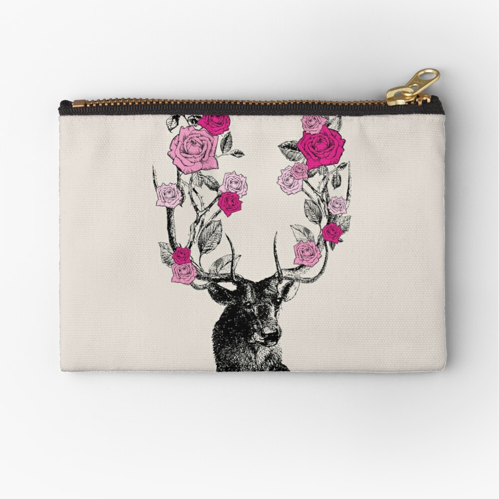 The Stag and Roses | Deer and Roses | Stag and Flowers | Deer and Flowers | Vintage Stag | Antlers | Woodland | Highland | Pink and Beige |  Zipper Pouch