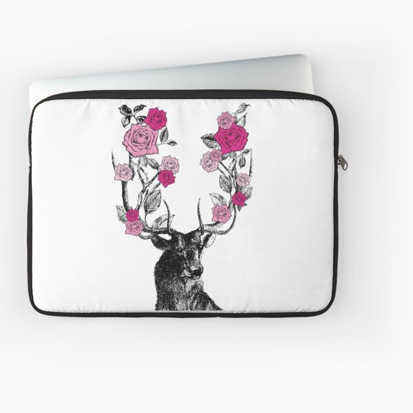 The Stag and Roses | Deer and Roses | Stag and Flowers | Deer and Flowers | Vintage Stag | Antlers | Woodland | Highland | Pink |  Laptop Sleeve