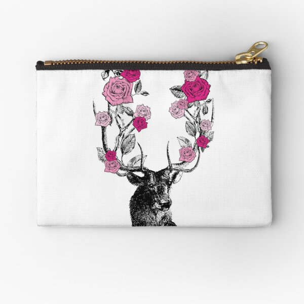 The Stag and Roses   Deer and Roses   Stag and Flowers   Deer and Flowers   Vintage Stag   Antlers   Woodland   Highland   Pink    Zipper Pouch
