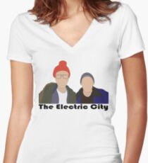 f31e58e81 The Electric City Women's Fitted V-Neck T-Shirt