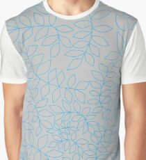 Blue Leafy Vines on Gray Graphic T-Shirt