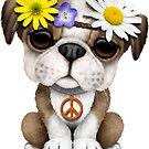 Niedlicher britischer Bulldoggen-Welpen-Hippie von jeff bartels