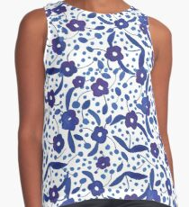 Blue and White Florals in Gouache Contrast Tank
