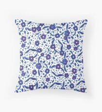 Blue and White Florals in Gouache Throw Pillow