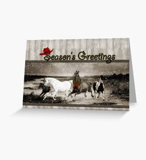 Sepia Toned Vintage Wild Horses Greeting Card