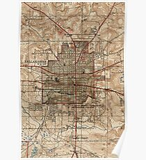 Vintage Map of Tallahassee Florida (1940) Poster