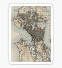 Vintage Map of Seattle Washington (1908) Sticker