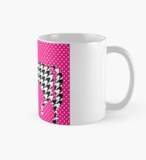 """Taza clásica """"Busy Horse in Hound"""" Hounds tooth Equine Polka Dot Hot Pink Black White"""