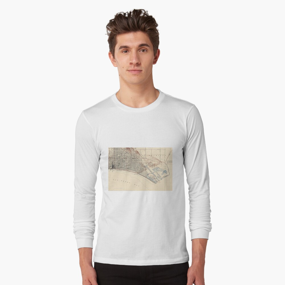 Vintage Map of Long Beach California (1923) Long Sleeve T-Shirt