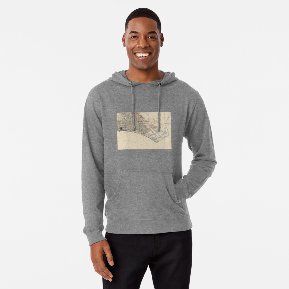 Vintage Map of Long Beach California (1923) Lightweight Hoodie