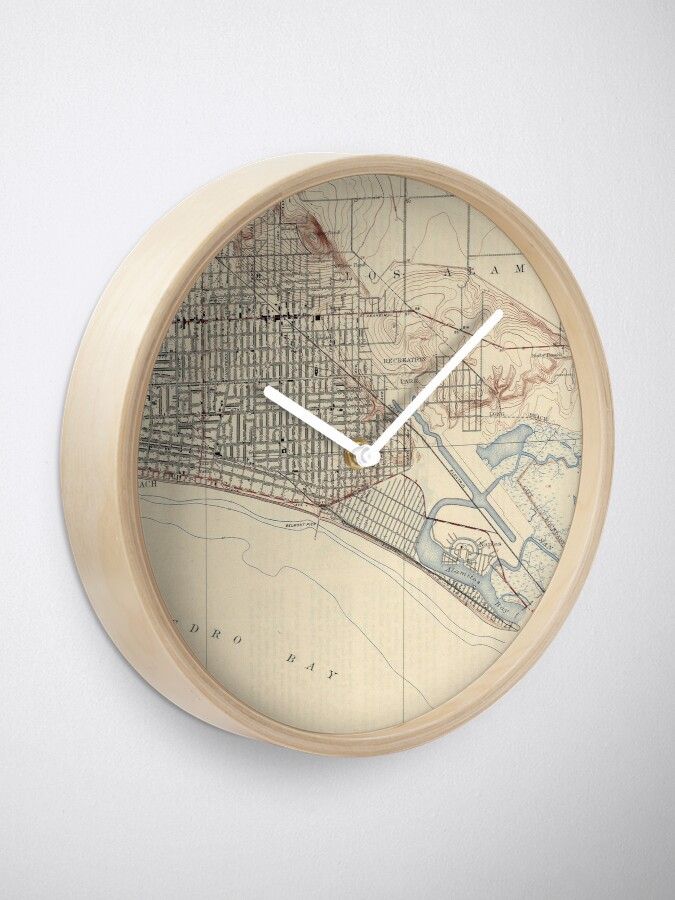 Alternate view of Vintage Map of Long Beach California (1923) Clock