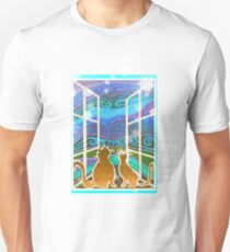 Cats Looking Out The Window Blue with Snowflakes T-Shirt