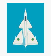 Saab 37 Viggen Fighter Jet Aircraft - Blue Photographic Print