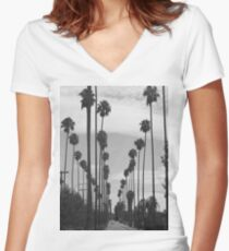 Vintage Black & White California Palm Trees Photo Fitted V-Neck T-Shirt