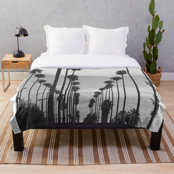 Vintage Black & White California Palm Trees Photo Throw Blanket