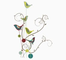 Colorful Whimsical Summer Birds & Swirls