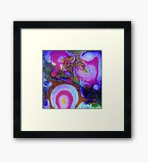 Pink, White and Yellow Abstract Framed Print