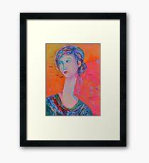 Portrait Modigliani style Woman Portrait Painting Female Figurative  Framed Print