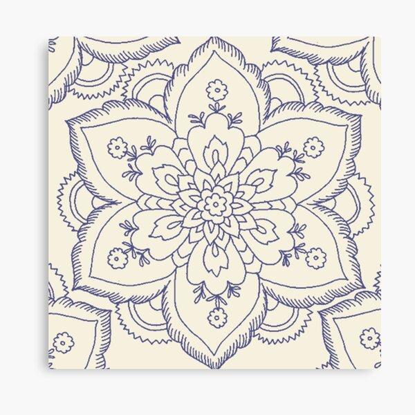 Vintage navy blue ivory elegant floral mandala Canvas Print