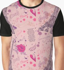 Paris. Vintage seamless pattern with Eiffel Tower, flowers, feathers and text.  Graphic T-Shirt