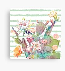 Watercolor cactus, floral and stripes design Canvas Print