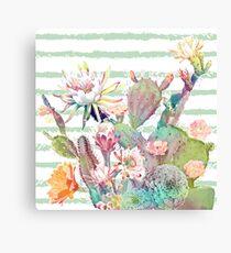 Aquarell Kaktus, Blumen und Streifen Design Leinwanddruck