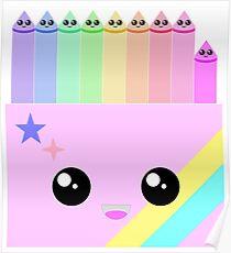 kawaii box of colors Poster