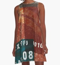 Abstract Industrial Art - Distressed Red A-Line Dress
