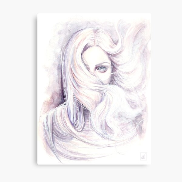 "Watercolour and ink painting ""Aura"" Wind element Metal Print"