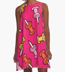 Map Tack Pattern in Pink A-Line Dress