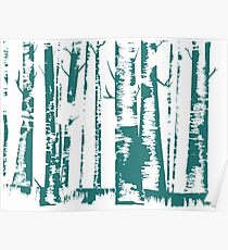 Birch Forest in Blue Poster