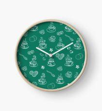 Tea time lush meadow Clock