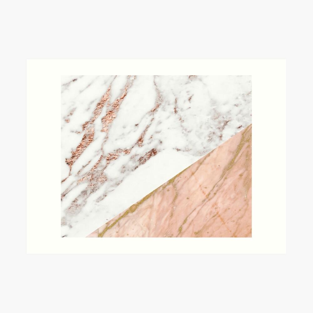 Rose gold marble blended Art Print