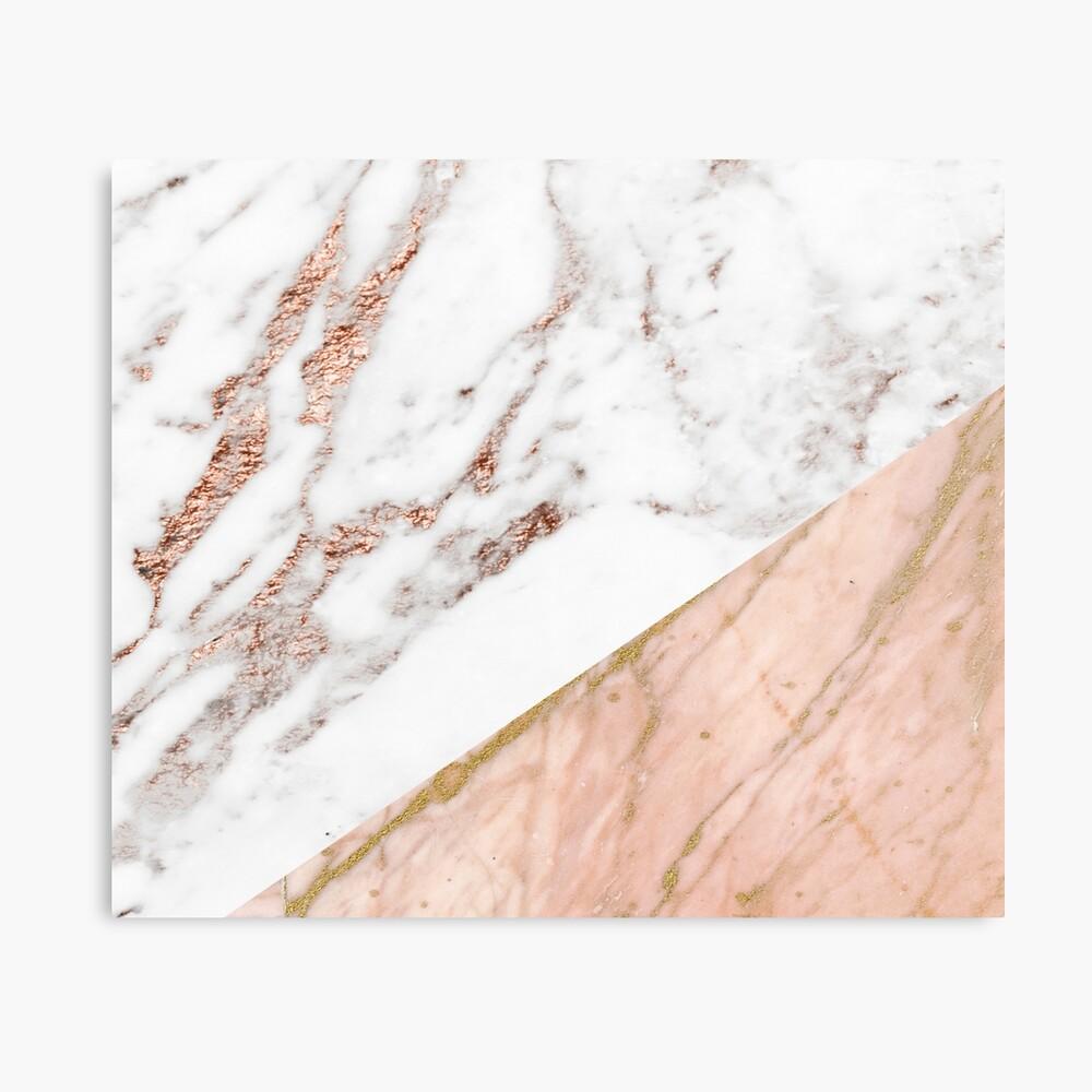 Rose gold marble blended Metal Print
