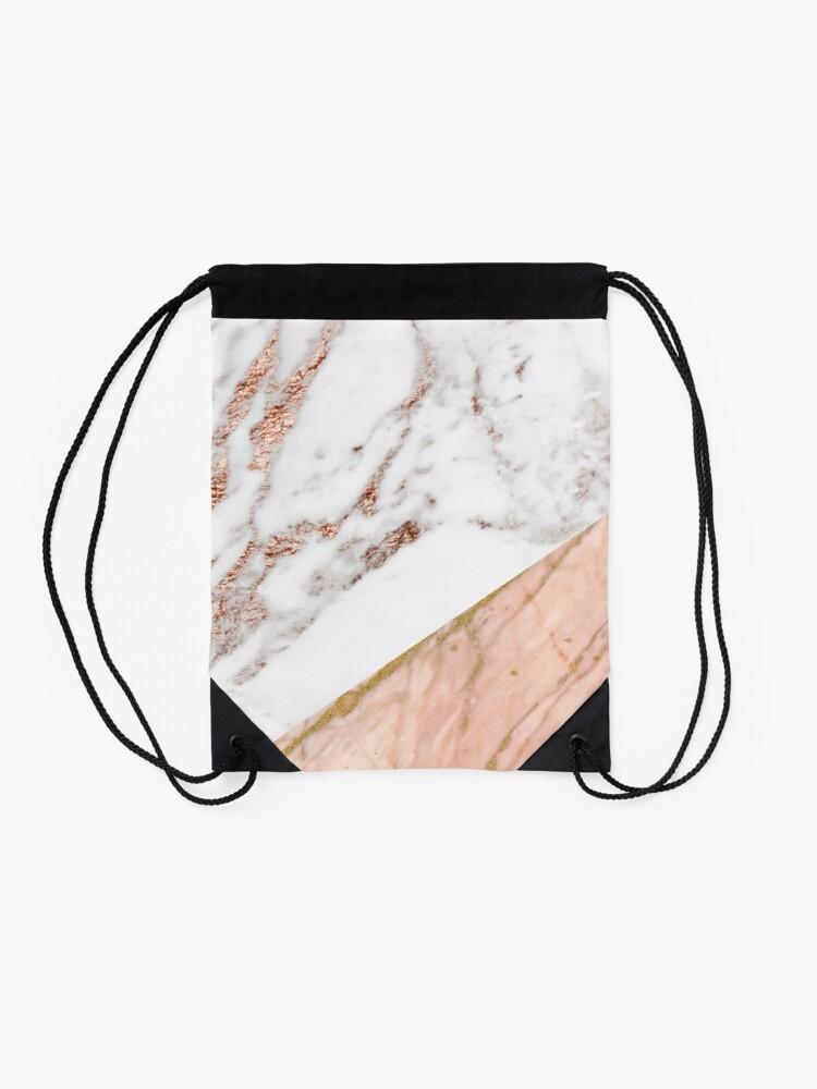 Alternate view of Rose gold marble blended Drawstring Bag