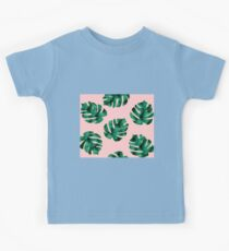 Tropical fern leaves on peach Kids Clothes