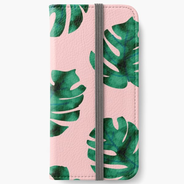 Tropical fern leaves on peach iPhone Wallet