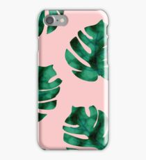 Tropical fern leaves on peach iPhone Case/Skin