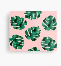 Tropical fern leaves on peach Metal Print