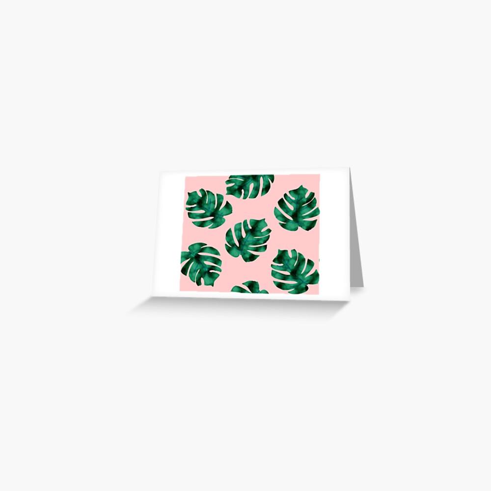 Tropische Farnblätter auf Pfirsich Grußkarte