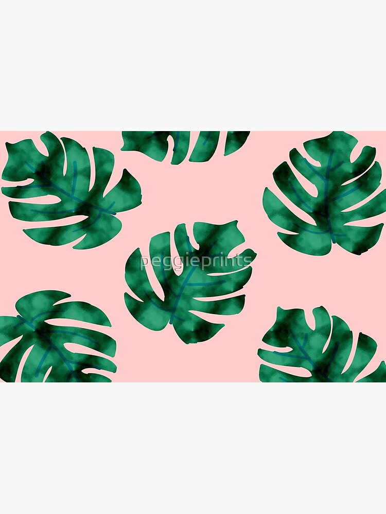 Tropical fern leaves on peach by peggieprints