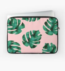 Tropical fern leaves on peach Laptop Sleeve