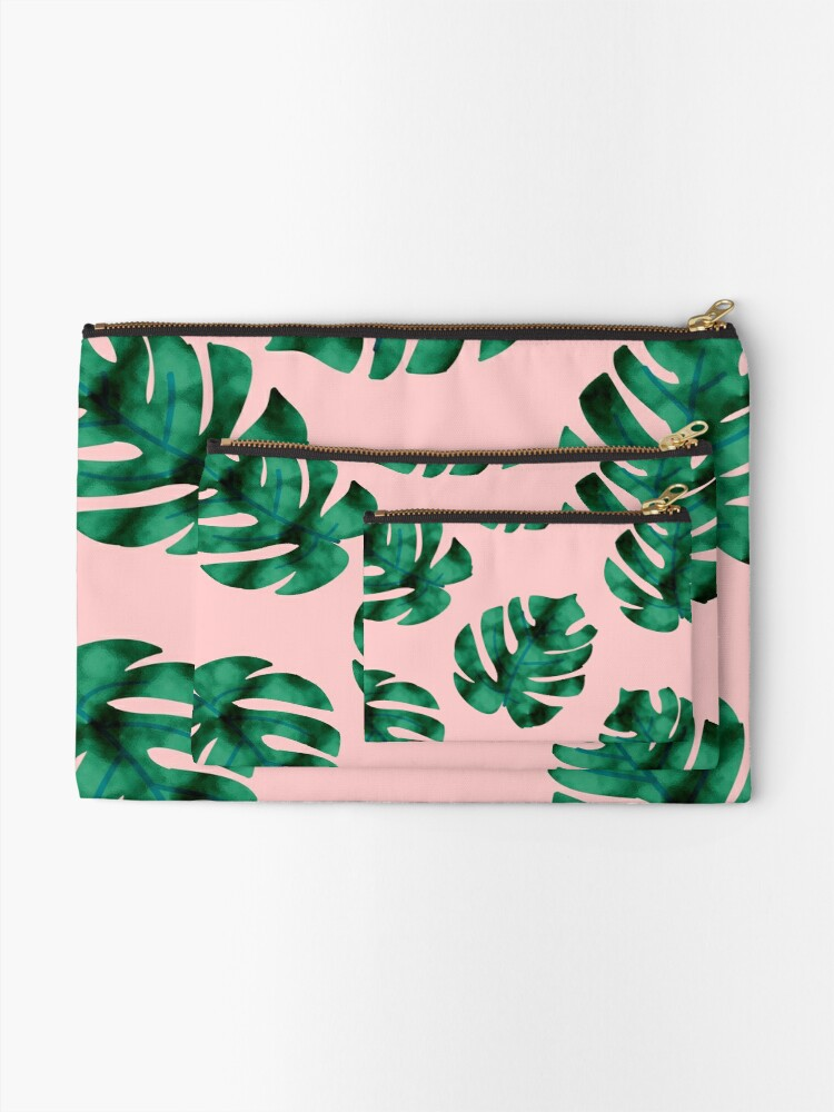 Alternate view of Tropical fern leaves on peach Zipper Pouch