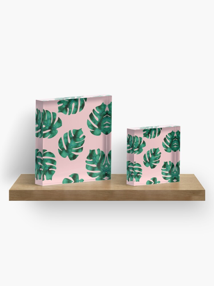 Alternate view of Tropical fern leaves on peach Acrylic Block