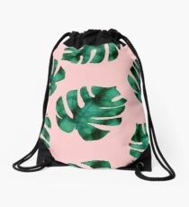 Tropical fern leaves on peach Drawstring Bag